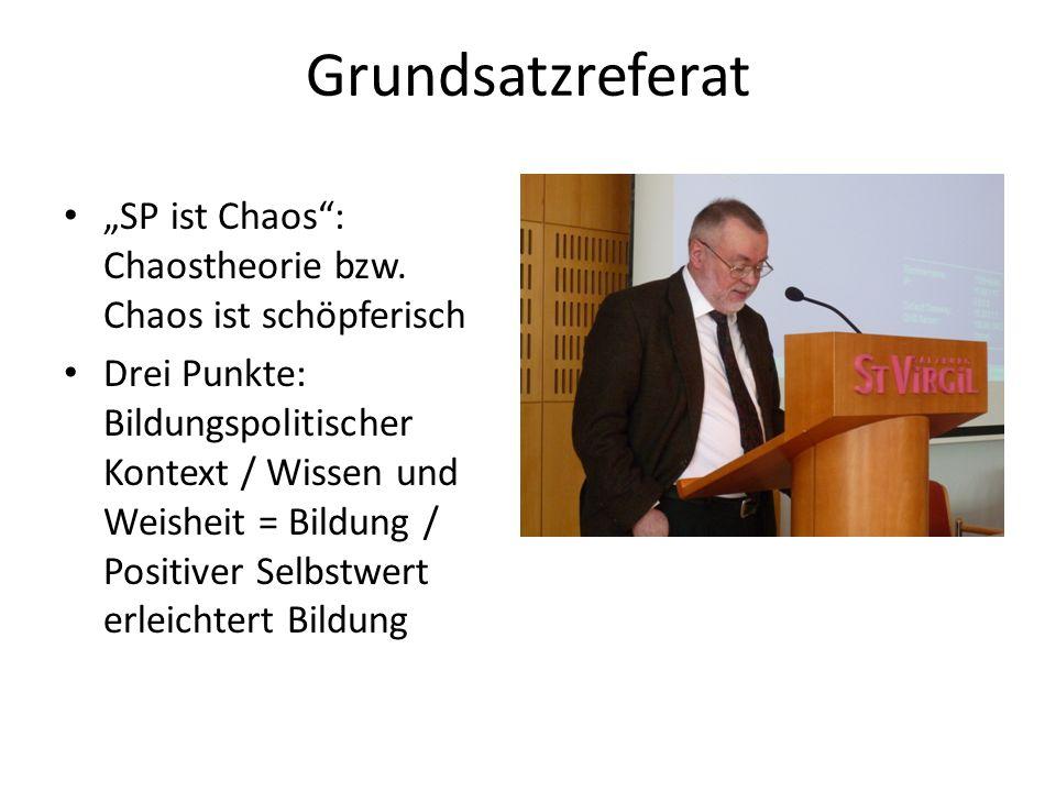 Grundsatzreferat SP ist Chaos: Chaostheorie bzw. Chaos ist schöpferisch Drei Punkte: Bildungspolitischer Kontext / Wissen und Weisheit = Bildung / Pos