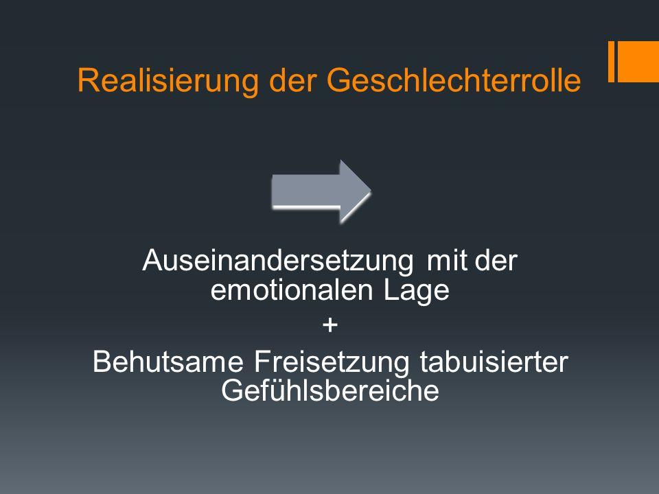 Realisierung der Geschlechterrolle Auseinandersetzung mit der emotionalen Lage + Behutsame Freisetzung tabuisierter Gefühlsbereiche