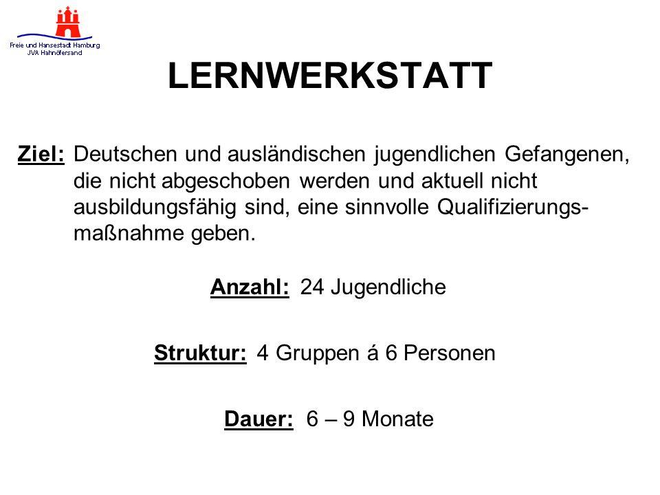 LERNWERKSTATT Ziel:Deutschen und ausländischen jugendlichen Gefangenen, die nicht abgeschoben werden und aktuell nicht ausbildungsfähig sind, eine sinnvolle Qualifizierungs- maßnahme geben.