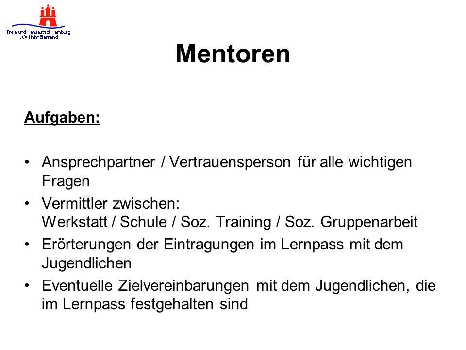 Mentoren Aufgaben: Ansprechpartner / Vertrauensperson für alle wichtigen Fragen Vermittler zwischen: Werkstatt / Schule / Soz.