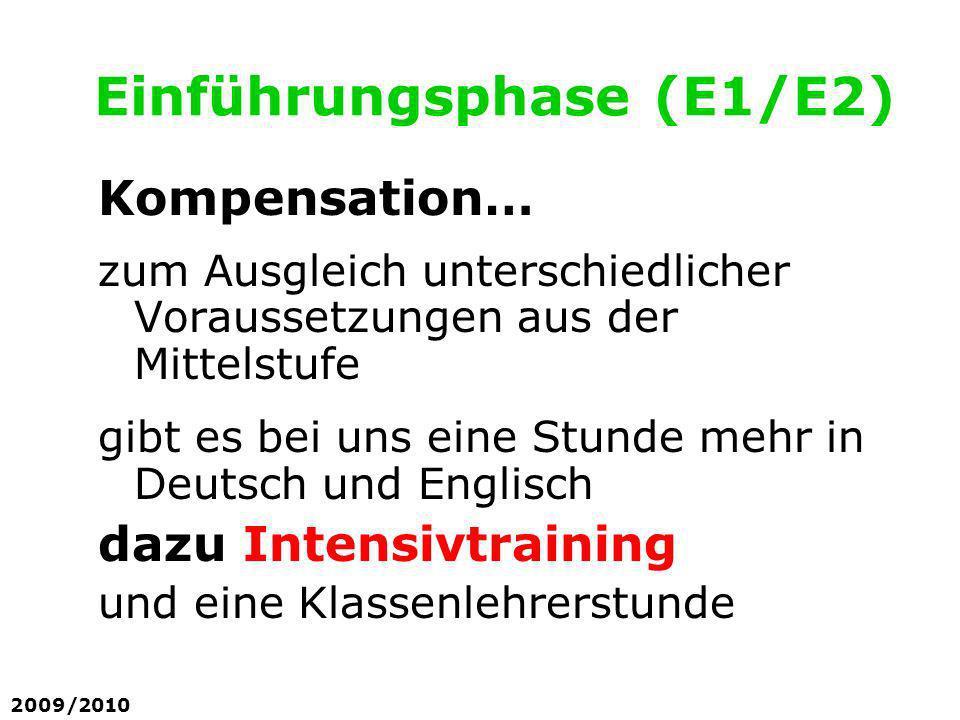 Einführungsphase (E1/E2) Kompensation… zum Ausgleich unterschiedlicher Voraussetzungen aus der Mittelstufe gibt es bei uns eine Stunde mehr in Deutsch