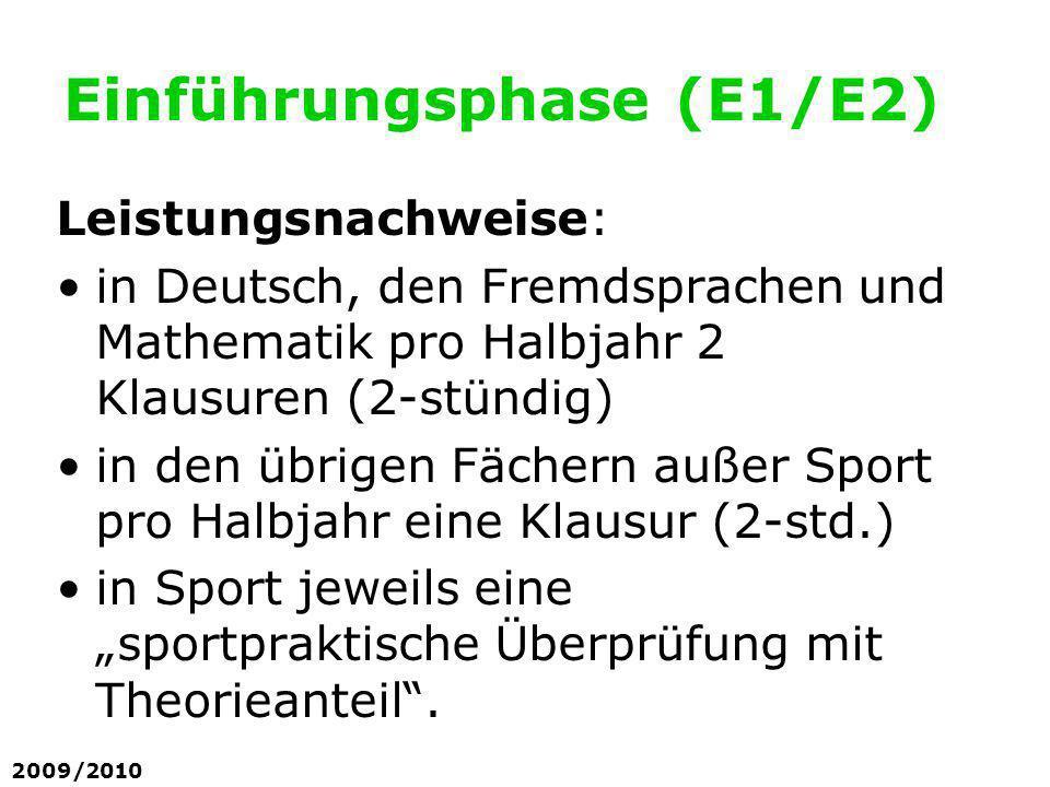 Einführungsphase (E1/E2) Leistungsnachweise: in Deutsch, den Fremdsprachen und Mathematik pro Halbjahr 2 Klausuren (2-stündig) in den übrigen Fächern