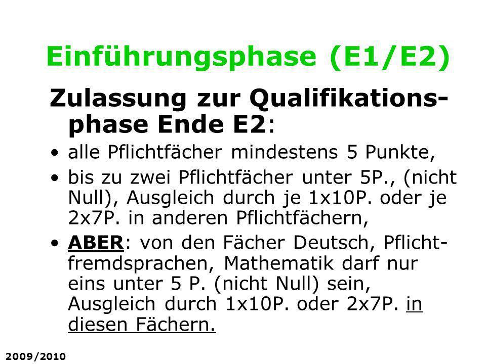 Einführungsphase (E1/E2) Zulassung zur Qualifikations- phase Ende E2: alle Pflichtfächer mindestens 5 Punkte, bis zu zwei Pflichtfächer unter 5P., (ni