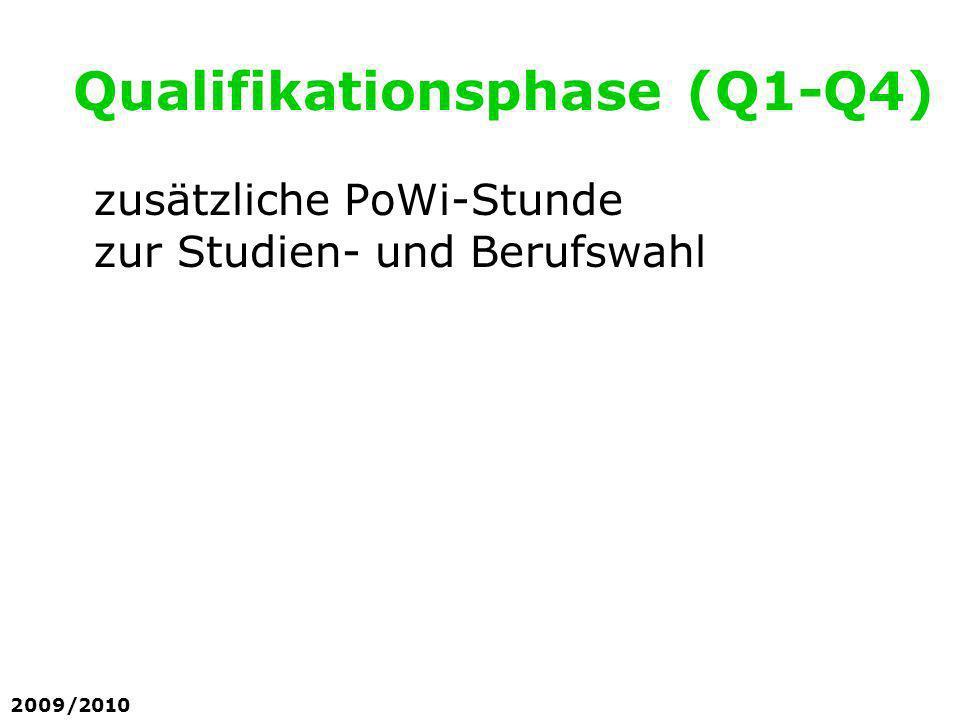 zusätzliche PoWi-Stunde zur Studien- und Berufswahl Qualifikationsphase (Q1-Q4) 2009/2010