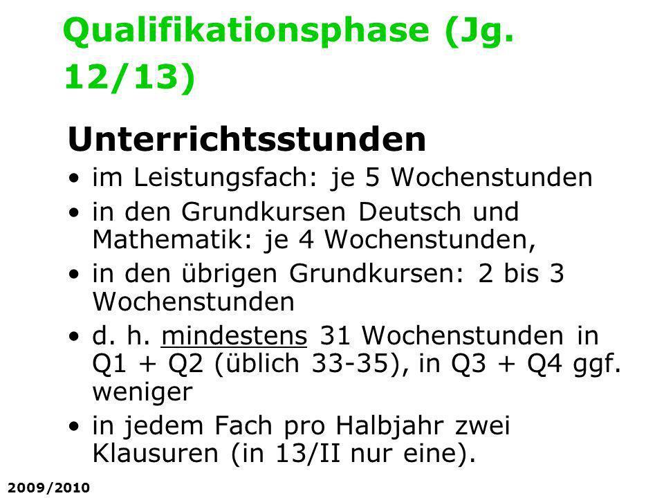 Unterrichtsstunden im Leistungsfach: je 5 Wochenstunden in den Grundkursen Deutsch und Mathematik: je 4 Wochenstunden, in den übrigen Grundkursen: 2 b