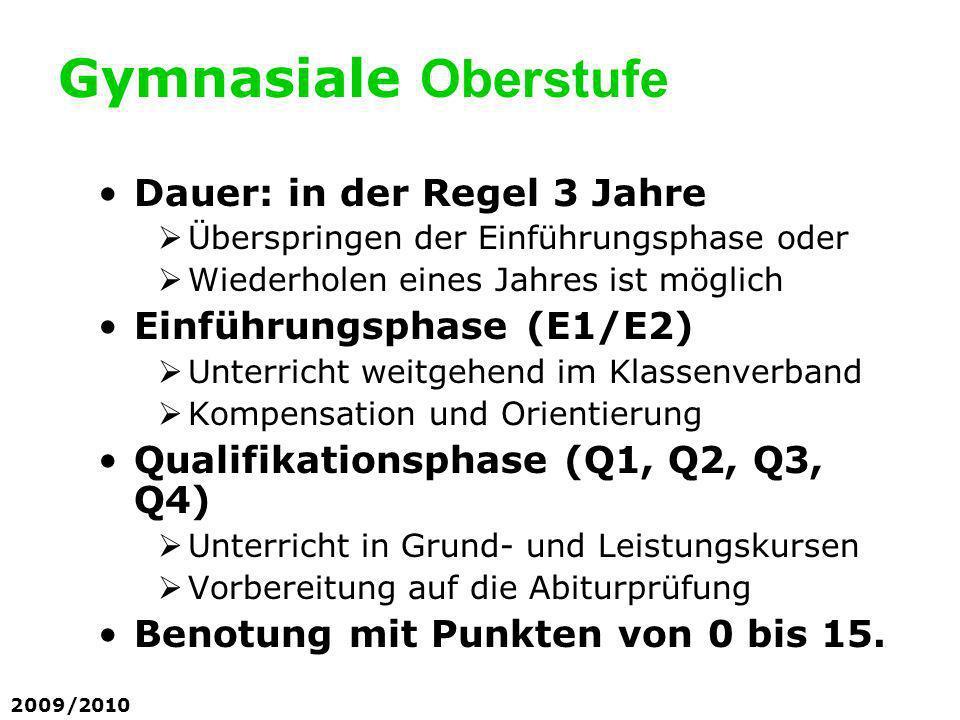 Einführungsphase (E1/E2) Leistungsnachweise: in Deutsch, den Fremdsprachen und Mathematik pro Halbjahr 2 Klausuren (2-stündig) in den übrigen Fächern außer Sport pro Halbjahr eine Klausur (2-std.) in Sport jeweils eine sportpraktische Überprüfung mit Theorieanteil.