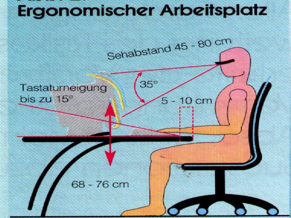 Mögliche Gesundheitsschäden Bandscheibenverformung durch falsches/ ungesundes Sitzen (gut 60% aller Erwachsenen haben Rückenprobleme) Augenschäden dur