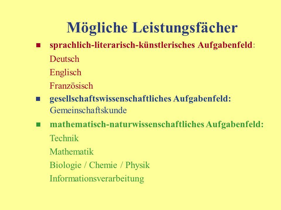Mögliche Leistungsfächer sprachlich-literarisch-künstlerisches Aufgabenfeld: Deutsch Englisch Französisch gesellschaftswissenschaftliches Aufgabenfeld: Gemeinschaftskunde mathematisch-naturwissenschaftliches Aufgabenfeld: Technik Mathematik Biologie / Chemie / Physik Informationsverarbeitung