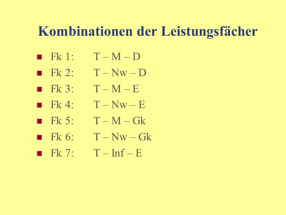 Kombinationen der Leistungsfächer Fk 1:T – M – D Fk 2:T – Nw – D Fk 3:T – M – E Fk 4:T – Nw – E Fk 5:T – M – Gk Fk 6: T – Nw – Gk Fk 7:T – Inf – E