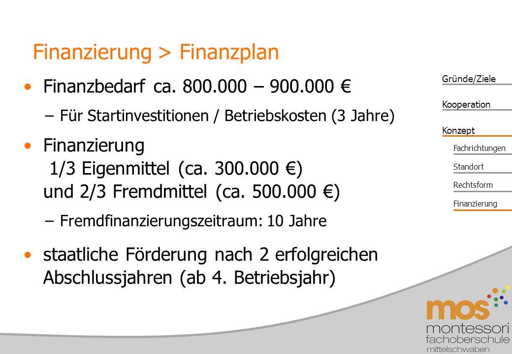 Gründe/Ziele Konzept Kooperation Fachrichtungen Standort Rechtsform Finanzierung Finanzbedarf ca.