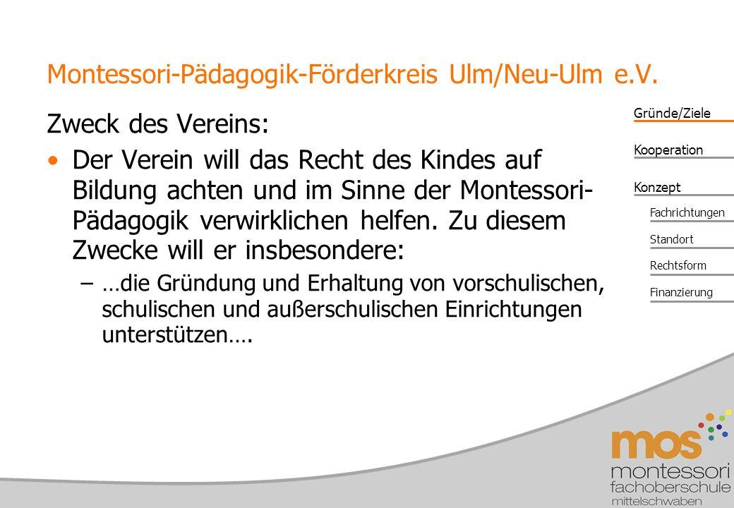 Gründe/Ziele Konzept Kooperation Fachrichtungen Standort Rechtsform Finanzierung Montessori-Pädagogik-Förderkreis Ulm/Neu-Ulm e.V.