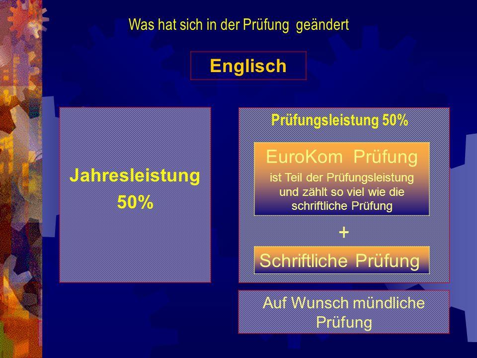 Was hat sich in der Prüfung geändert Englisch Jahresleistung 50% Auf Wunsch mündliche Prüfung EuroKom Prüfung ist Teil der Prüfungsleistung und zählt
