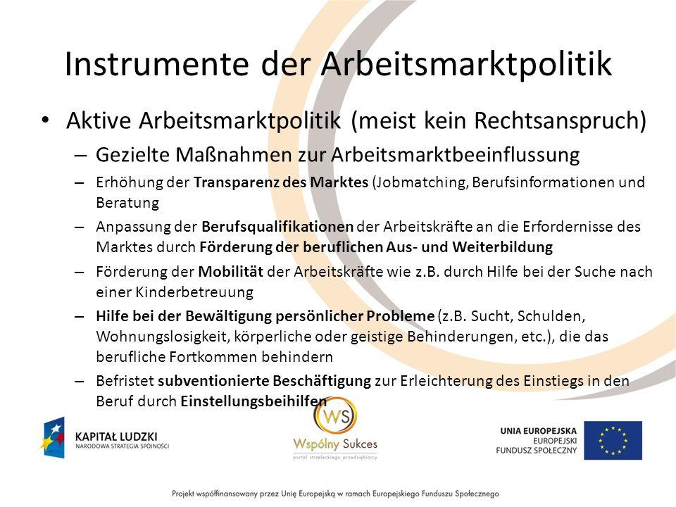 Instrumente der Arbeitsmarktpolitik Aktive Arbeitsmarktpolitik (meist kein Rechtsanspruch) – Gezielte Maßnahmen zur Arbeitsmarktbeeinflussung – Erhöhu