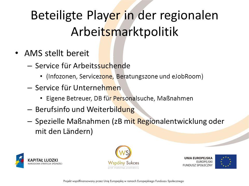 Beteiligte Player in der regionalen Arbeitsmarktpolitik AMS stellt bereit – Service für Arbeitssuchende (Infozonen, Servicezone, Beratungszone und eJo