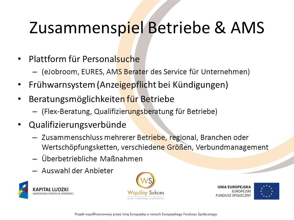 Zusammenspiel Betriebe & AMS Plattform für Personalsuche – (eJobroom, EURES, AMS Berater des Service für Unternehmen) Frühwarnsystem (Anzeigepflicht b