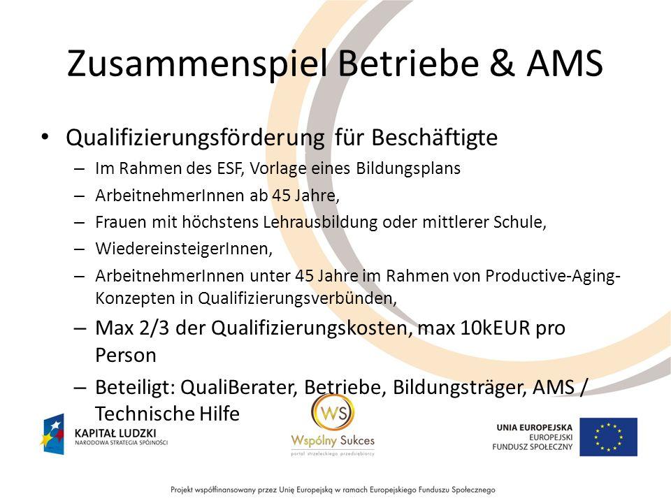 Zusammenspiel Betriebe & AMS Qualifizierungsförderung für Beschäftigte – Im Rahmen des ESF, Vorlage eines Bildungsplans – ArbeitnehmerInnen ab 45 Jahr
