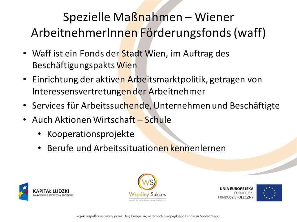 Spezielle Maßnahmen – Wiener ArbeitnehmerInnen Förderungsfonds (waff) Waff ist ein Fonds der Stadt Wien, im Auftrag des Beschäftigungspakts Wien Einri