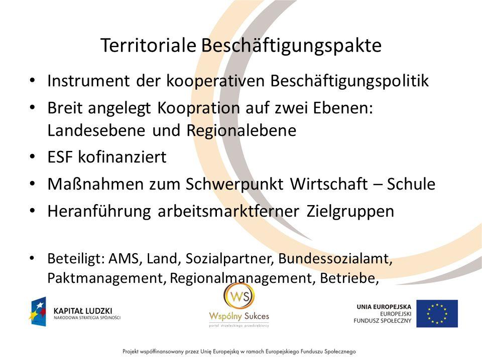 Territoriale Beschäftigungspakte Instrument der kooperativen Beschäftigungspolitik Breit angelegt Koopration auf zwei Ebenen: Landesebene und Regional
