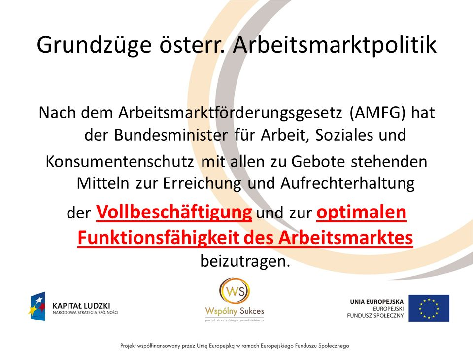 Grundzüge österr. Arbeitsmarktpolitik Nach dem Arbeitsmarktförderungsgesetz (AMFG) hat der Bundesminister für Arbeit, Soziales und Konsumentenschutz m