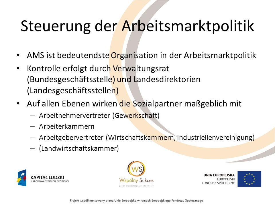 Steuerung der Arbeitsmarktpolitik AMS ist bedeutendste Organisation in der Arbeitsmarktpolitik Kontrolle erfolgt durch Verwaltungsrat (Bundesgeschäfts