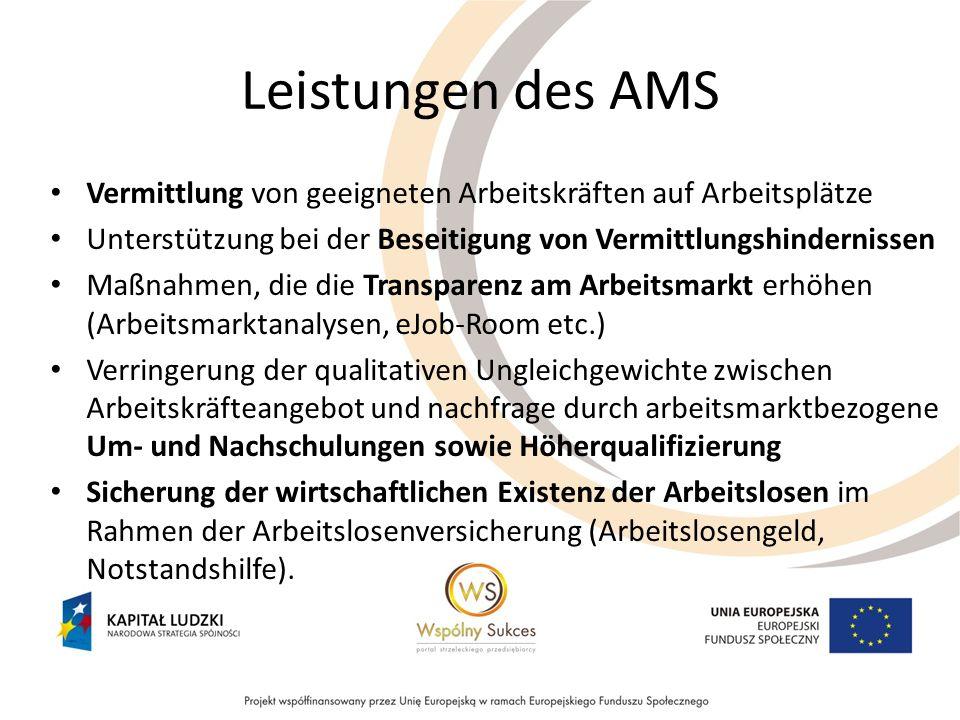Leistungen des AMS Vermittlung von geeigneten Arbeitskräften auf Arbeitsplätze Unterstützung bei der Beseitigung von Vermittlungshindernissen Maßnahme