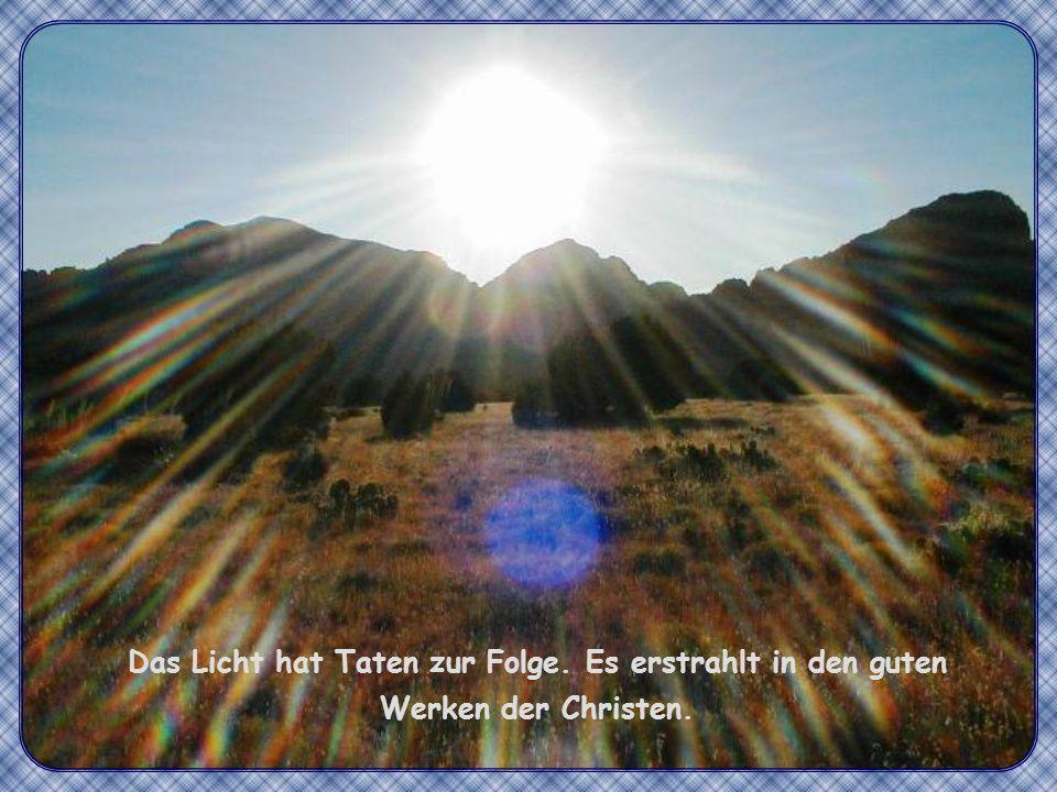 Das Licht hat Taten zur Folge. Es erstrahlt in den guten Werken der Christen.