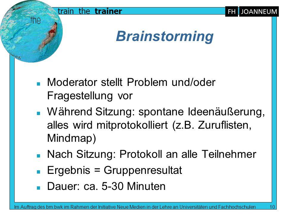 train the trainer Im Auftrag des bm:bwk im Rahmen der Initiative Neue Medien in der Lehre an Universitäten und Fachhochschulen 10 Brainstorming n Mode