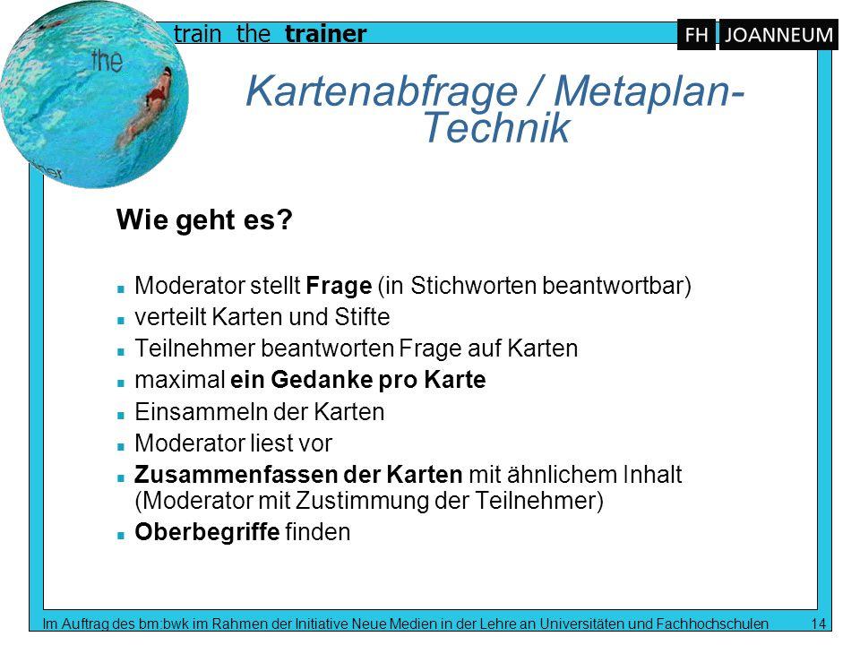 train the trainer Im Auftrag des bm:bwk im Rahmen der Initiative Neue Medien in der Lehre an Universitäten und Fachhochschulen 14 Kartenabfrage / Meta