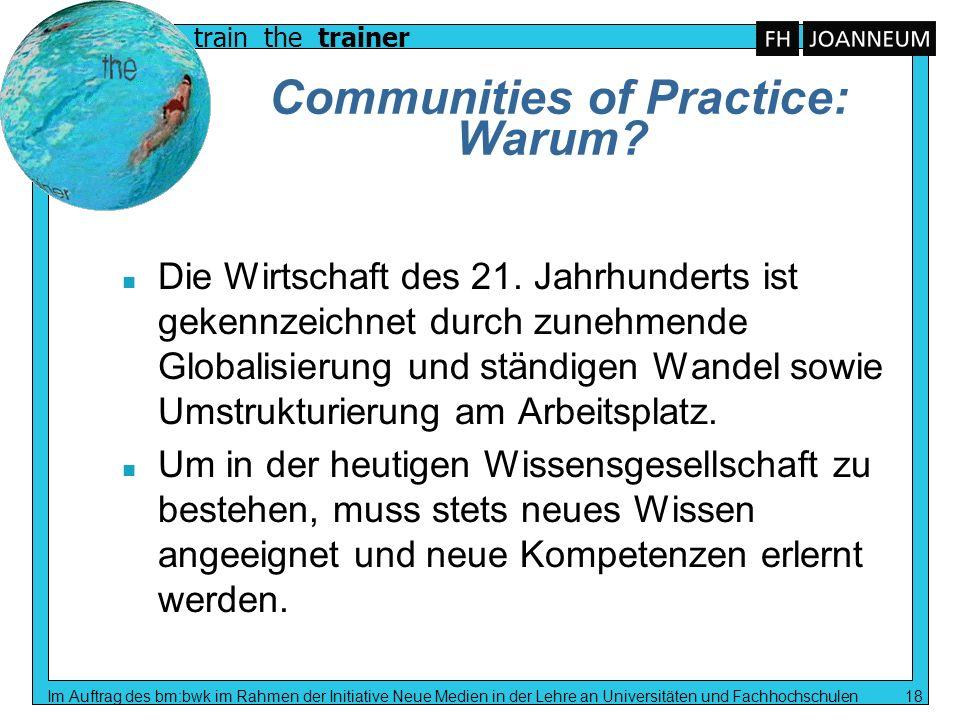 train the trainer Im Auftrag des bm:bwk im Rahmen der Initiative Neue Medien in der Lehre an Universitäten und Fachhochschulen 18 Communities of Pract