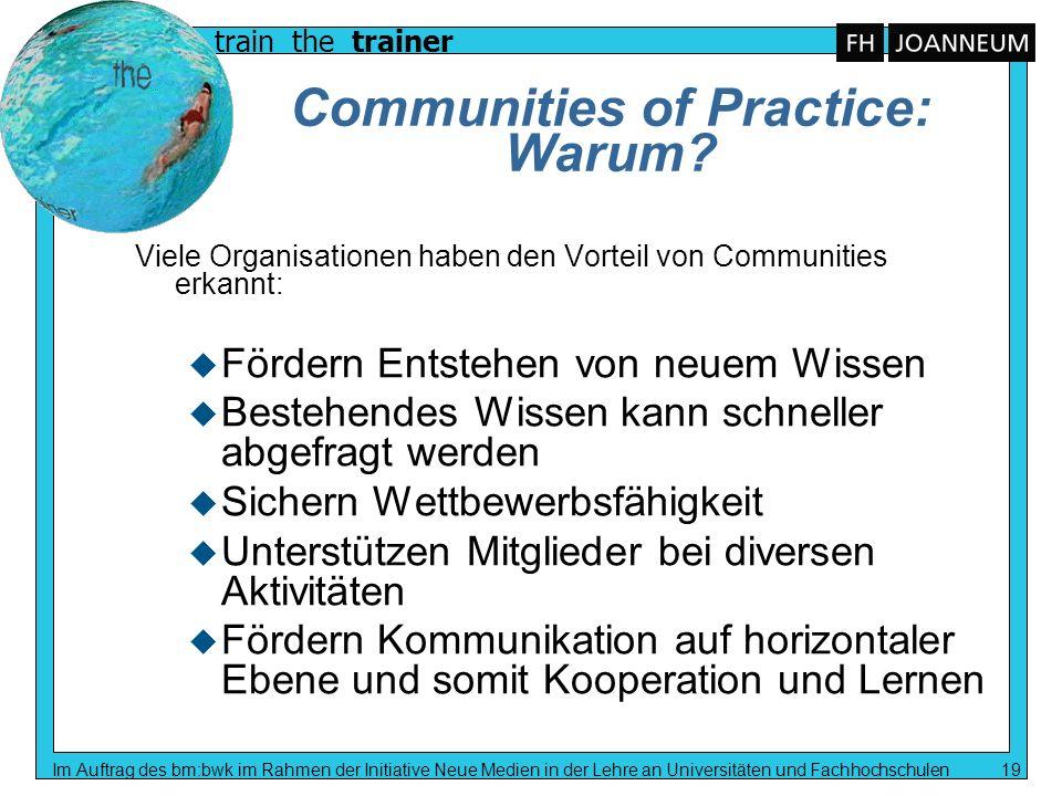train the trainer Im Auftrag des bm:bwk im Rahmen der Initiative Neue Medien in der Lehre an Universitäten und Fachhochschulen 19 Communities of Pract