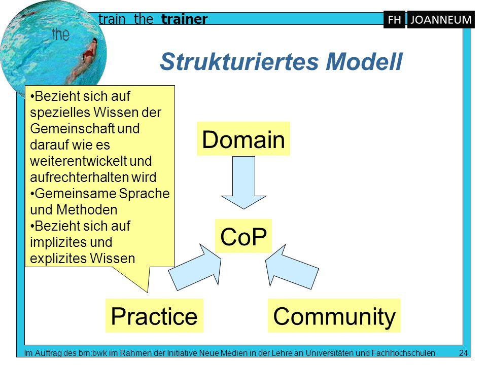 train the trainer Im Auftrag des bm:bwk im Rahmen der Initiative Neue Medien in der Lehre an Universitäten und Fachhochschulen 24 Strukturiertes Model