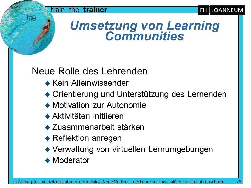 train the trainer Im Auftrag des bm:bwk im Rahmen der Initiative Neue Medien in der Lehre an Universitäten und Fachhochschulen 28 Umsetzung von Learni