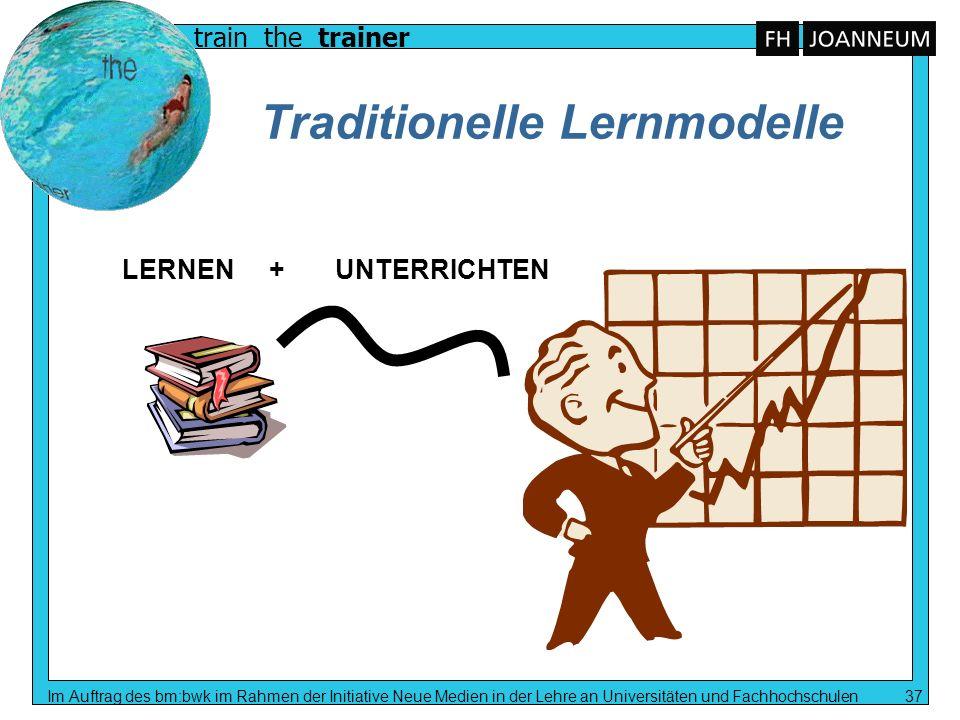 train the trainer Im Auftrag des bm:bwk im Rahmen der Initiative Neue Medien in der Lehre an Universitäten und Fachhochschulen 37 Traditionelle Lernmo