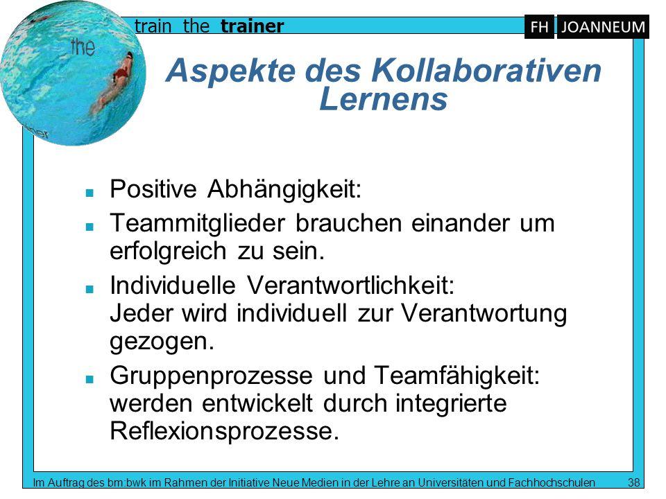 train the trainer Im Auftrag des bm:bwk im Rahmen der Initiative Neue Medien in der Lehre an Universitäten und Fachhochschulen 38 Aspekte des Kollabor