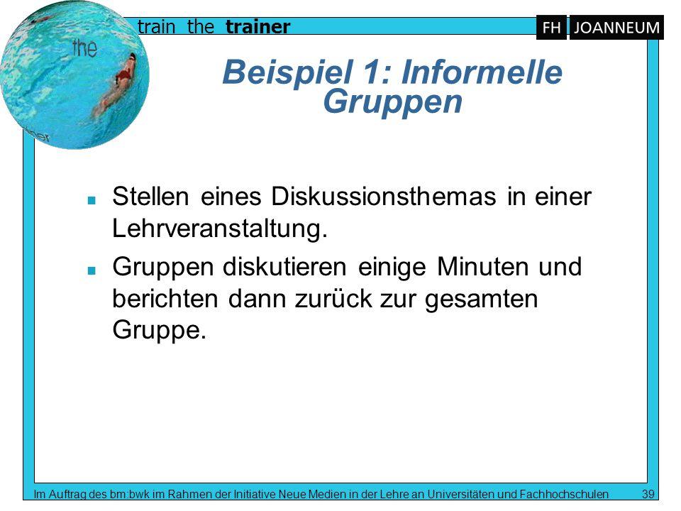 train the trainer Im Auftrag des bm:bwk im Rahmen der Initiative Neue Medien in der Lehre an Universitäten und Fachhochschulen 39 Beispiel 1: Informel
