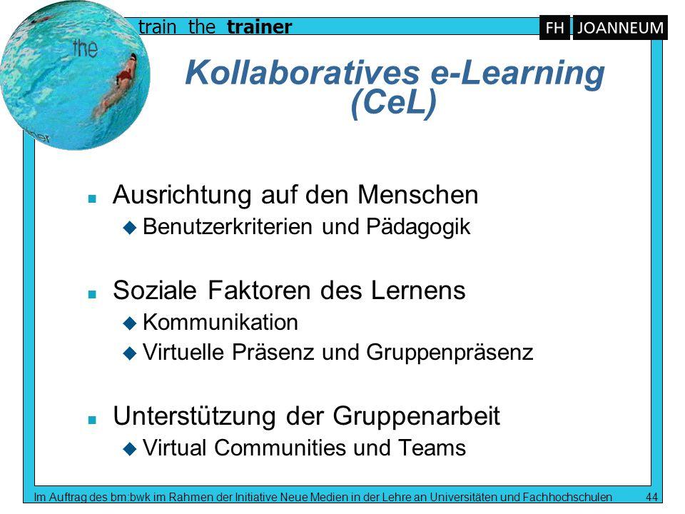 train the trainer Im Auftrag des bm:bwk im Rahmen der Initiative Neue Medien in der Lehre an Universitäten und Fachhochschulen 44 Kollaboratives e-Lea