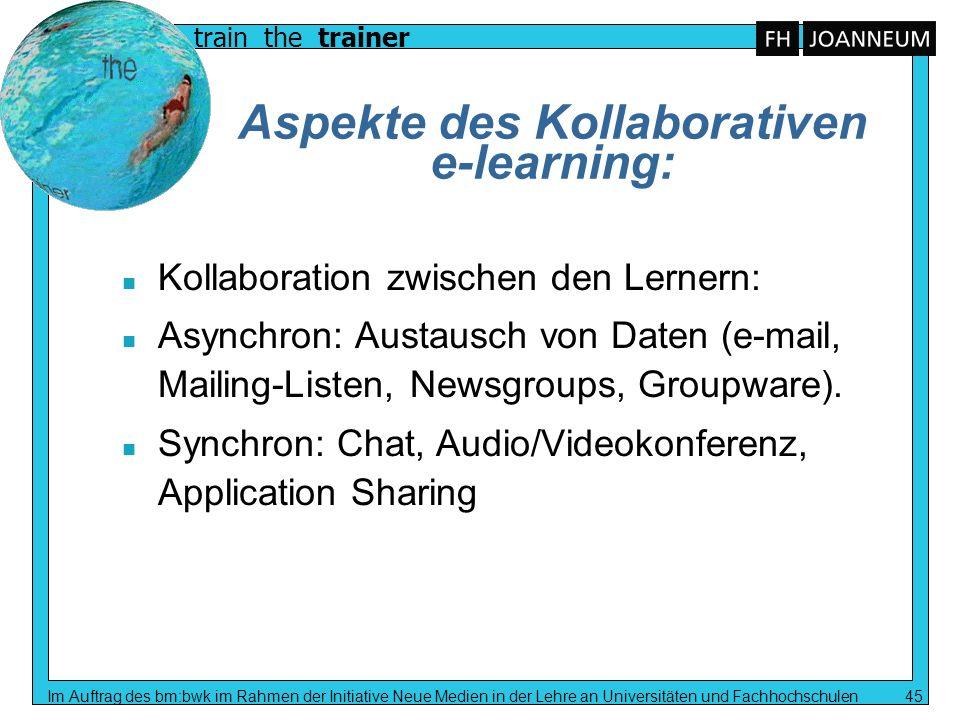 train the trainer Im Auftrag des bm:bwk im Rahmen der Initiative Neue Medien in der Lehre an Universitäten und Fachhochschulen 45 Aspekte des Kollabor