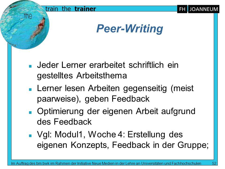 train the trainer Im Auftrag des bm:bwk im Rahmen der Initiative Neue Medien in der Lehre an Universitäten und Fachhochschulen 52 Peer-Writing n Jeder