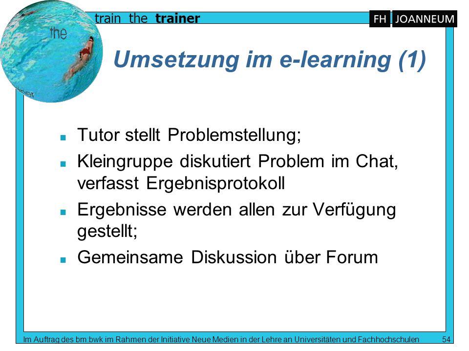 train the trainer Im Auftrag des bm:bwk im Rahmen der Initiative Neue Medien in der Lehre an Universitäten und Fachhochschulen 54 Umsetzung im e-learn
