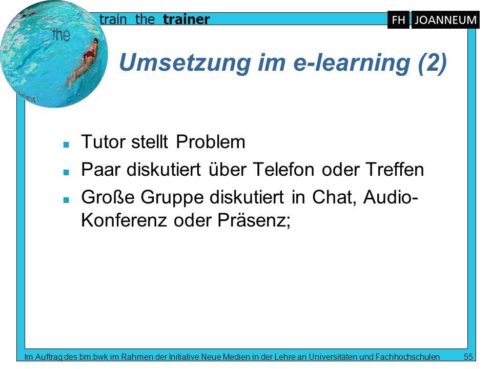 train the trainer Im Auftrag des bm:bwk im Rahmen der Initiative Neue Medien in der Lehre an Universitäten und Fachhochschulen 55 Umsetzung im e-learn