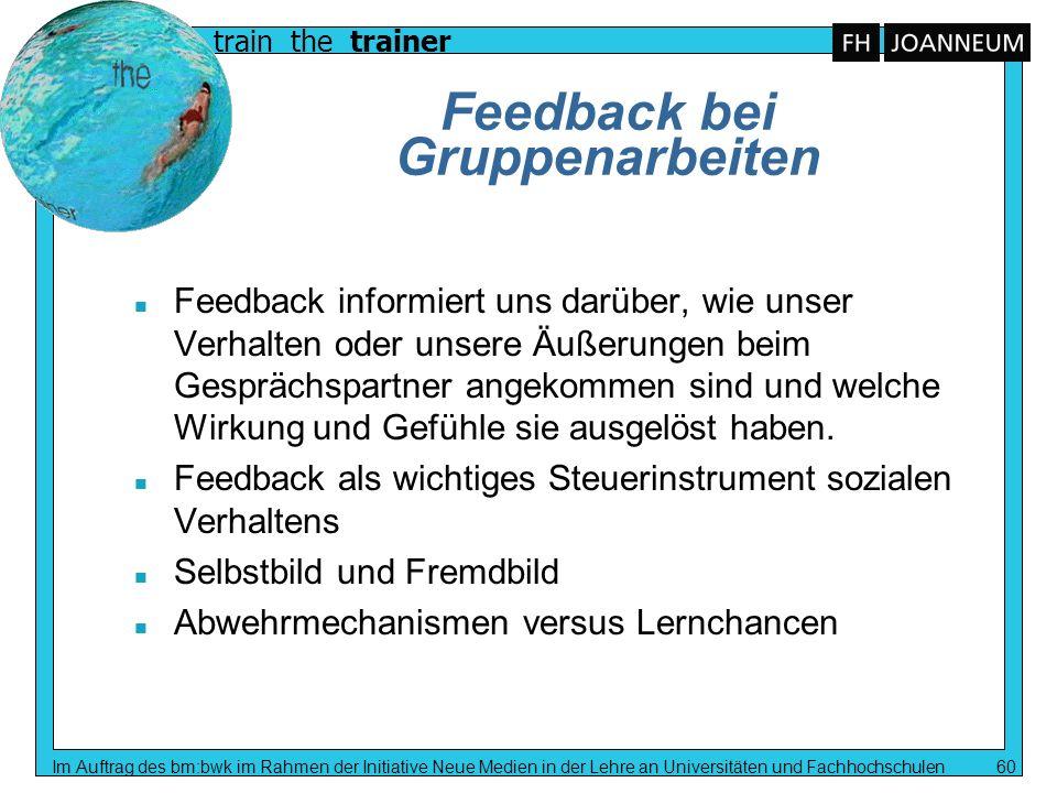 train the trainer Im Auftrag des bm:bwk im Rahmen der Initiative Neue Medien in der Lehre an Universitäten und Fachhochschulen 60 Feedback bei Gruppen