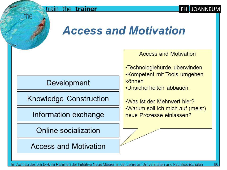 train the trainer Im Auftrag des bm:bwk im Rahmen der Initiative Neue Medien in der Lehre an Universitäten und Fachhochschulen 66 Access and Motivatio