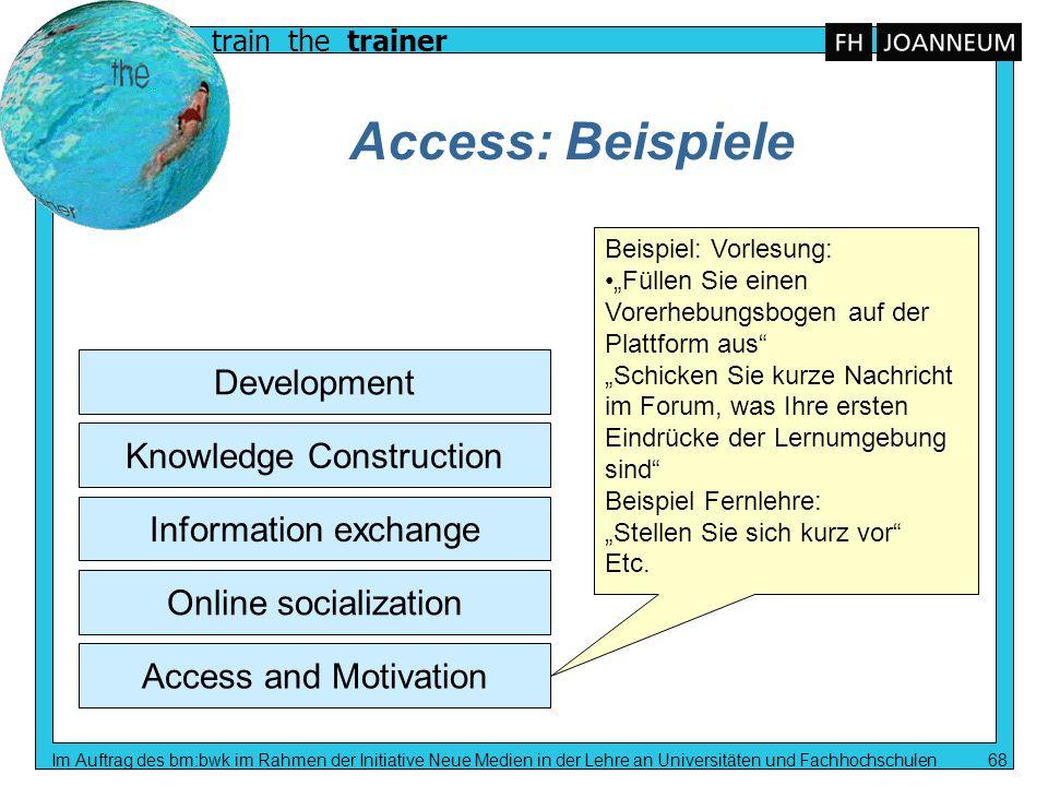train the trainer Im Auftrag des bm:bwk im Rahmen der Initiative Neue Medien in der Lehre an Universitäten und Fachhochschulen 68 Access: Beispiele Ac