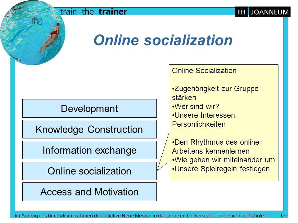 train the trainer Im Auftrag des bm:bwk im Rahmen der Initiative Neue Medien in der Lehre an Universitäten und Fachhochschulen 69 Online socialization