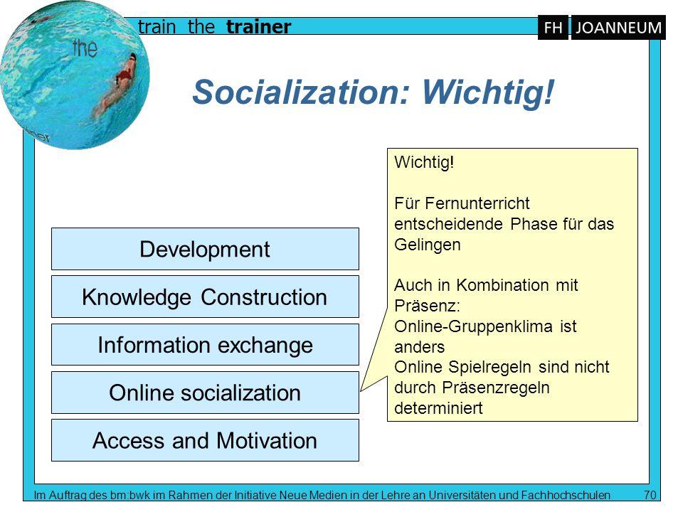 train the trainer Im Auftrag des bm:bwk im Rahmen der Initiative Neue Medien in der Lehre an Universitäten und Fachhochschulen 70 Socialization: Wicht