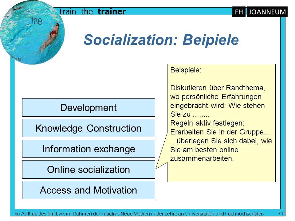 train the trainer Im Auftrag des bm:bwk im Rahmen der Initiative Neue Medien in der Lehre an Universitäten und Fachhochschulen 71 Socialization: Beipi