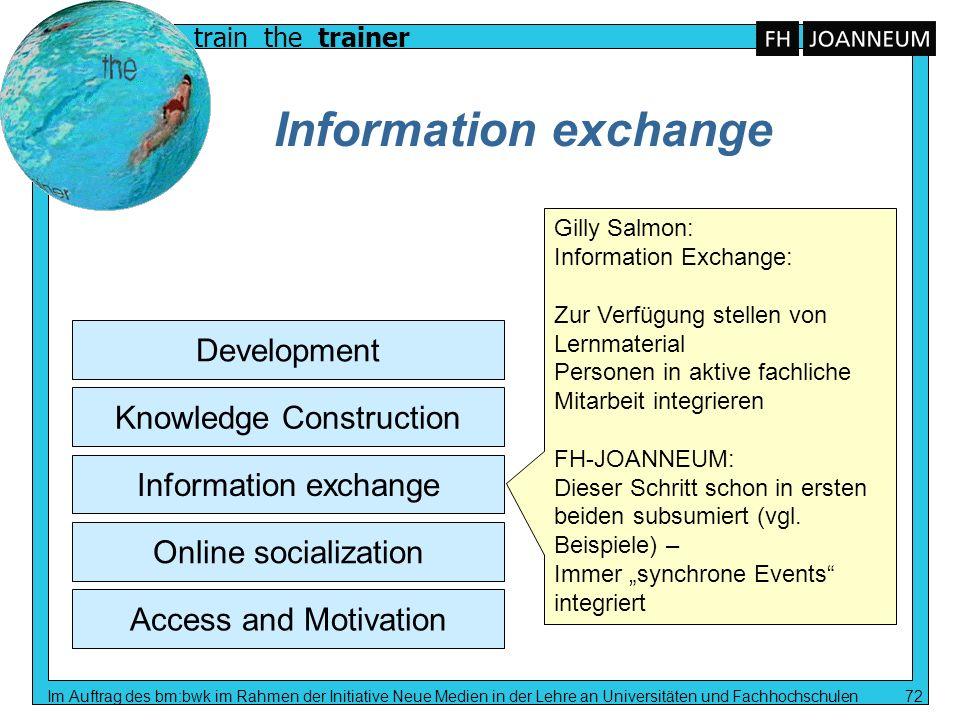 train the trainer Im Auftrag des bm:bwk im Rahmen der Initiative Neue Medien in der Lehre an Universitäten und Fachhochschulen 72 Information exchange
