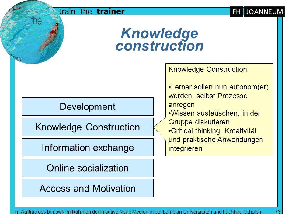 train the trainer Im Auftrag des bm:bwk im Rahmen der Initiative Neue Medien in der Lehre an Universitäten und Fachhochschulen 73 Knowledge constructi