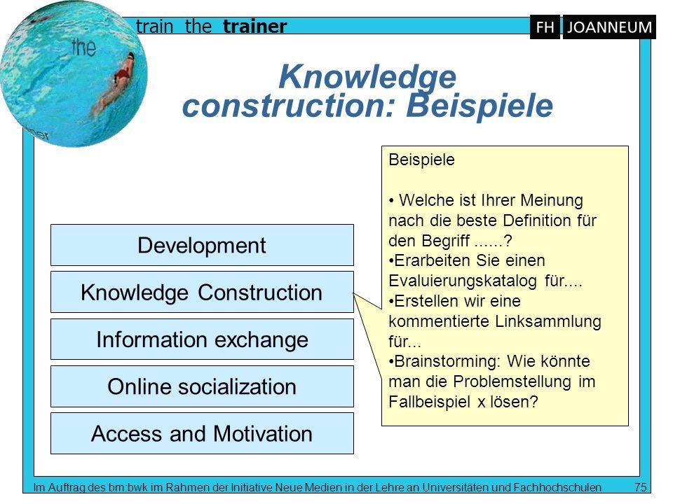 train the trainer Im Auftrag des bm:bwk im Rahmen der Initiative Neue Medien in der Lehre an Universitäten und Fachhochschulen 75 Knowledge constructi
