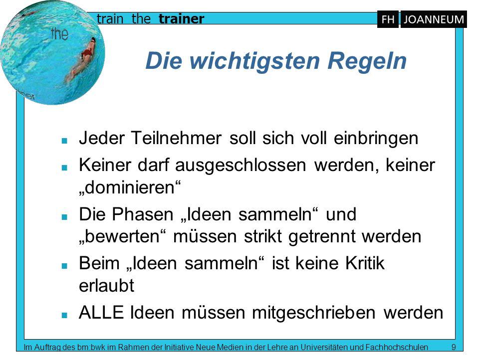 train the trainer Im Auftrag des bm:bwk im Rahmen der Initiative Neue Medien in der Lehre an Universitäten und Fachhochschulen 9 Die wichtigsten Regel